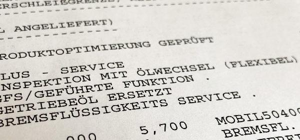 VW Golf 7 Inspektion Rechnung