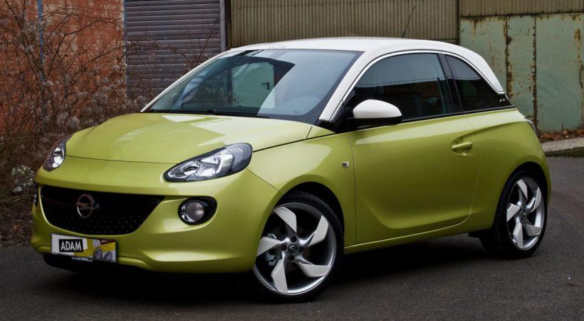 Gelb Weißer Opel Adam 1.4 Slam Frontansicht