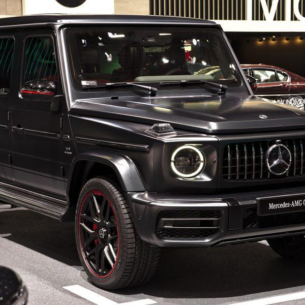 Schwarz Matter Mercedes Benz AMG G 63 Frontansicht