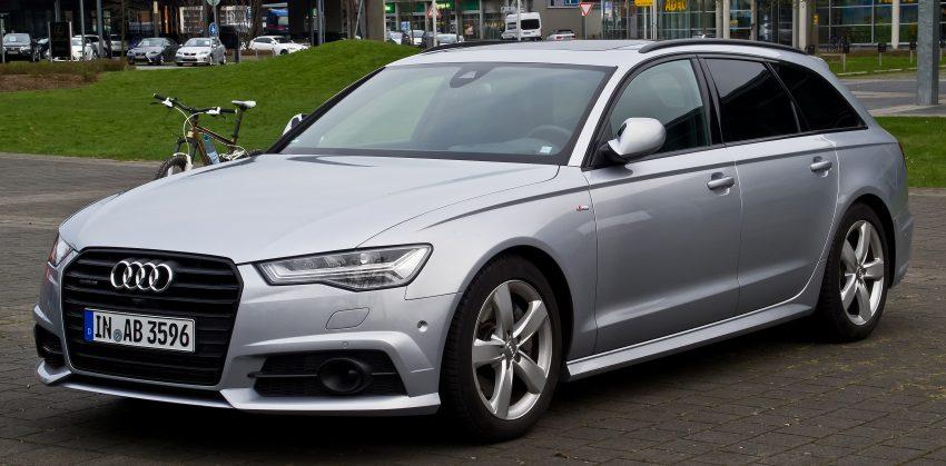 Frontansicht Silberner Audi A6 mit Getönten Scheiben