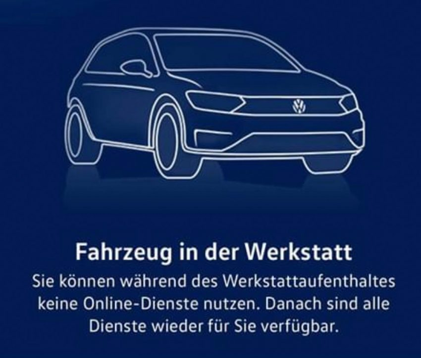 Anzeige Golf 8 Fahrzeug in Werkstatt