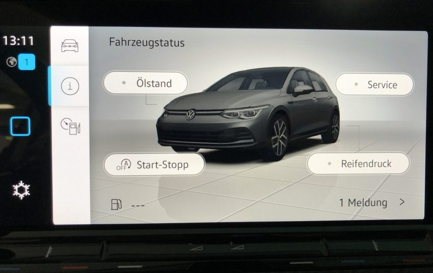 Service Anzeige der Inspektion VW Golf 8