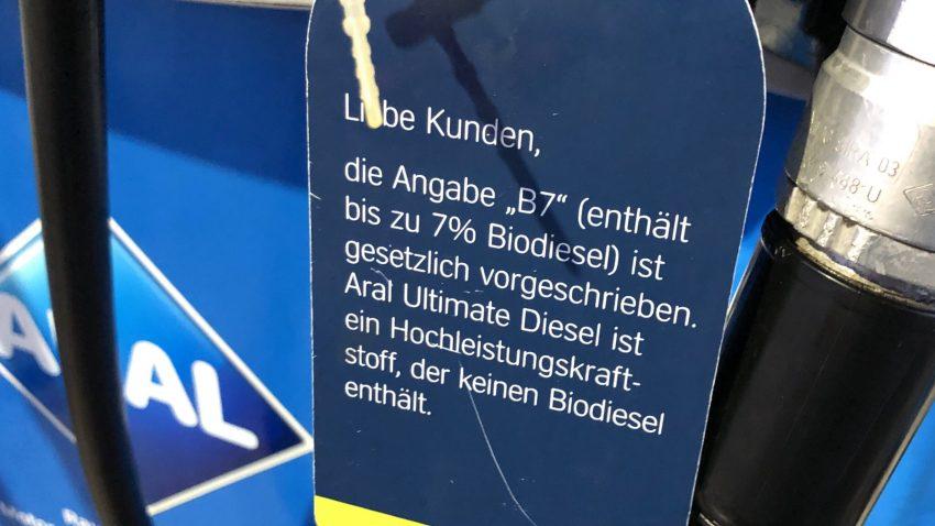 Hinweis Biodiesel Ultimate Diesel