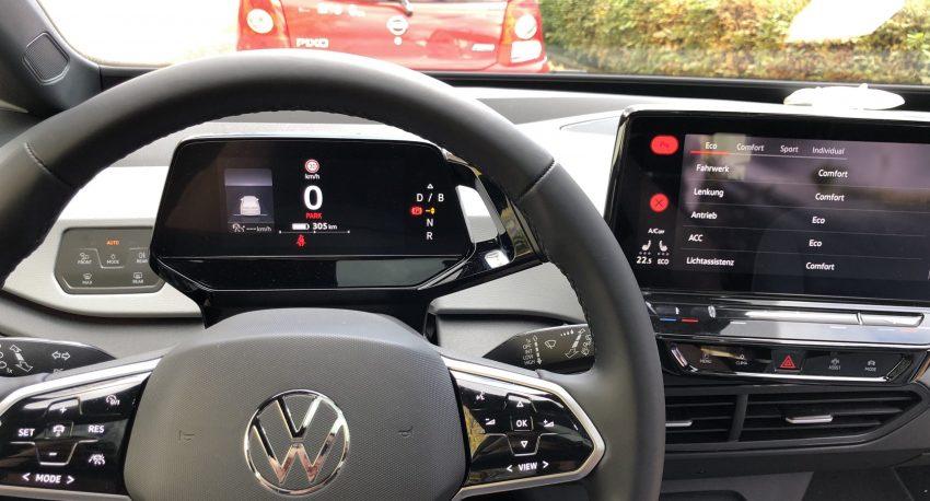 Verbrauchsanzeite (Reichweite) eines VW ID.3 im Cockpit