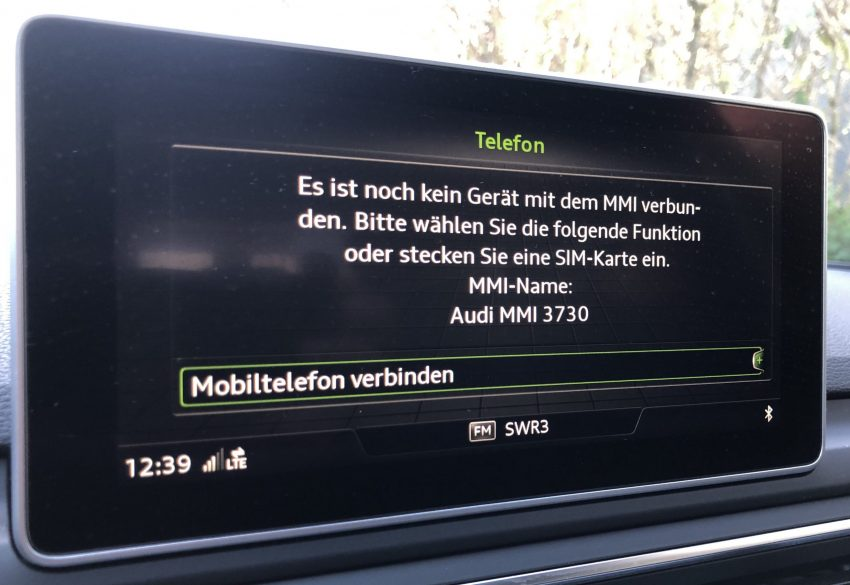 Bildschirm MMI Audi Bluetooth