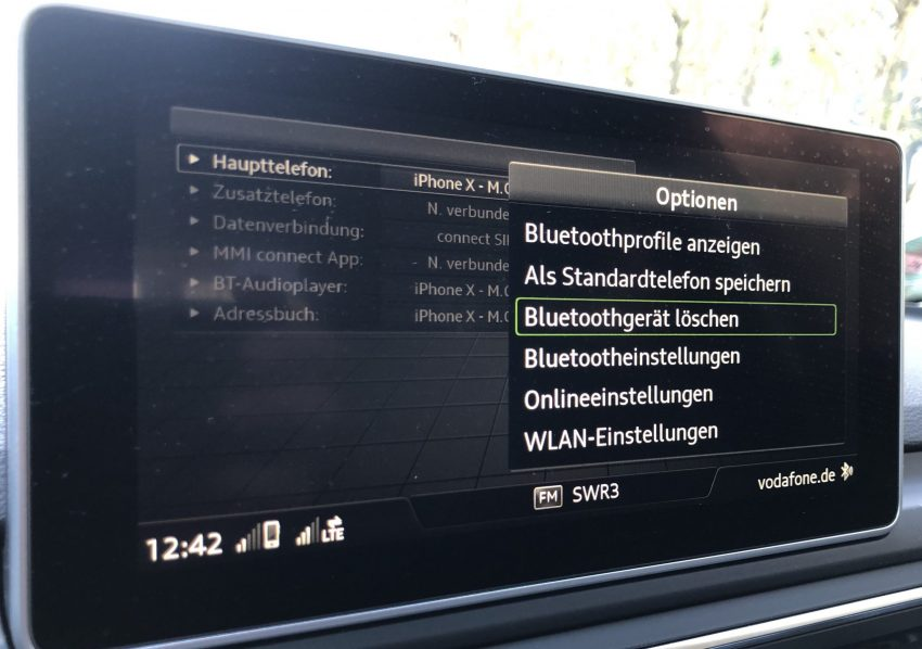 Audi Bluetooth Gerät löschen