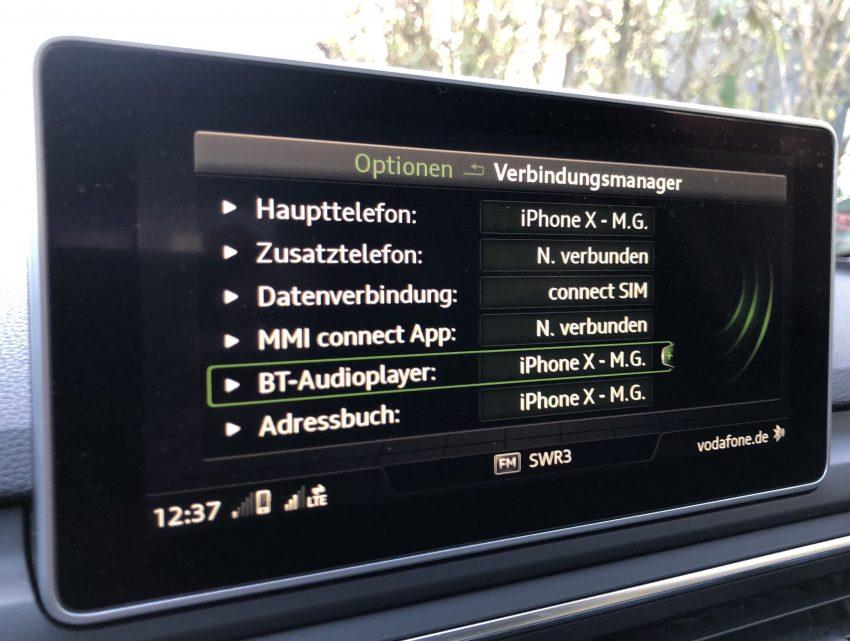 Bluetooth Musik hören im Audi
