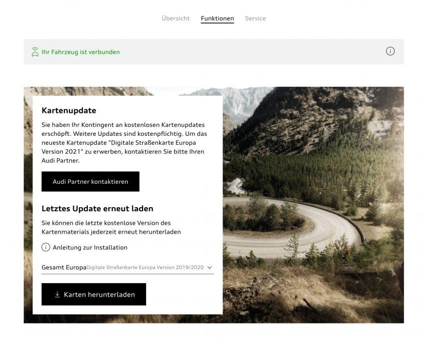 Audi Navi Update Website Meldung